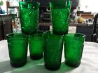 Vintage Anchor Hocking Emerald Green Sandwich Oatmeal Juice Glasses Set Of 7