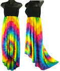 Rainbow Spiral Tie Dye Black High Low Sundress Summer Beachwear NEW Womens M/L