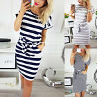 Women Short Sleeve Midi T-shirt Dress Summer Round Neck Striped Lace Up Sundress