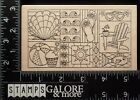 OUTLINES RUBBER STAMPS 1795 COLLAGE SUMMER BEACH FISH SEA SHELL SUN SAND 1344