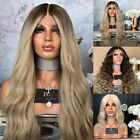 Women Fashion Synthetic Hair Lace Front Wig Body Wavy Full Wigs Ombre Blonde wy