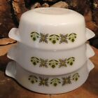 VTG Anchor Hocking Fire King GREEN MEADOW 3 Nesting Casseroles Near Mint Cond.