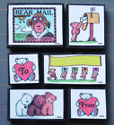 BEAR MAIL FM RUBBER STAMP SET FUN RARE ALL NIGHT MEDIA BEAR THEME LOT of 6