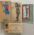 Stampin Up On The Green Lady Stamp Lot + Lady Golfer  Golf Ball Tee Birthday