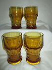 SET 4 AMBER GEORGIAN PATTERN GLASS 10 oz TUMBLERS ANCHOR HOCKING VTG GLASSES