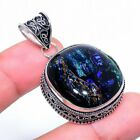 Dichroic Glass Gemstone Vintage Style 925 Sterling Silver Jewelry Pendant 1.69