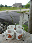 Set 4 Fire King White Coffee Mugs Holder Hand Painted Brown Leaf Leaves Silver