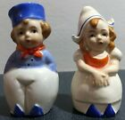 Dutch boy and girl ceramic salt and pepper shakers blue white clothes vintage