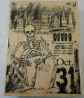 Stampendous Cemetery Skeleton Rubber Stamp Halloween Witch Wood Mounted