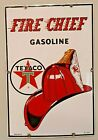 Texaco Fire Chief Porcelain Pump Plate Original 1962 Oil & Gas Advertising Sign
