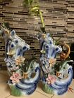 Dolphin Waves Porcelain China Vase Beautiful Dolphin And Flowers Pair 2