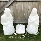set 3 White Christmas Nativity Jesus Blow Mold Lighted Yard Decor General Foam