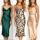 Women Satin Silk Slip Dress V Neck  Bodycon Midi Dresses Cocktail Party Evening