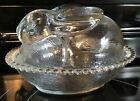 VINTAGE INDIANA CLEAR GLASS BUNNY RABBIT ON NEST BASKET CANDY DISH