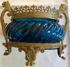 ANTIQUE FRENCH BRONZE AND GLASS FOOTED BOWL FLANKED BY LIONS