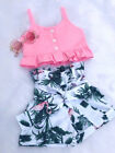 USA Flamingo Toddler Baby Girl Vest Crop Tops Short Pants Outfits Clothes Summer