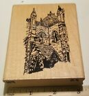 Large wood mounted rubber stamp cathedral church Catholic religion gothic