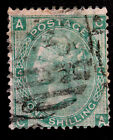Stamp GREAT BRITAIN Sc 48 Used One Shilling Green P4 wmk24 Victoria