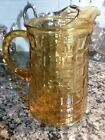 Vintage Amber 1960's Block Optic Pattern Mid Century Pitcher 64oz