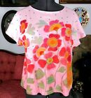 Gudrun Sjoden Cap Sleeve Top L Pink w Red Flowers Excellent BNW