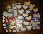 Lot Wood Craft Pieces Hearts Stars Round Beads Angels
