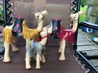 Lot Of 3 Vtg Camels Leather Wrapped Figurine Statues w Saddles