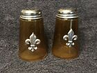 Vintage Gold Glass Salt and Pepper Shakers With Silver Top