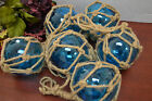 6 PCS LIGHT BLUE REPRODUCTION GLASS FLOAT FISHING BALL WITH FISHNET 3