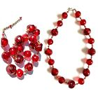 Vintage Red Blown Glass Bead Necklace
