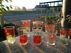 Lot 8 Mid Century Modern Juice Drinking Glasses Red Chicken Tomato Swanky Swig