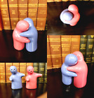Hugging Couple Salt  Pepper Shakers Yin  Yang Cute Ghosts Pink  Blue