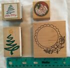 REDUCED Four Wonderful Christmas Stamps Wood Mounted Rubber