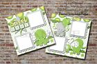 Sweet Baby Green Elephant Shower 2 PRINTED Premade Scrapbook Pages BLJgraves 57