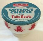 Fire King Sealtest Cottage Cheese red Tulip Bowl with lid ONLY ONE ON EBAY!