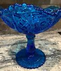 L E SMITH BLUE FAYETTE 8 2T GLASS COMPOTE SAWTOOTH EDGE QUILT PATTERN EXCEP