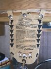 Vintage Native American Indian Prayer Wall Plaque Suede Leather