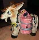 Vintage Porcelain Salt and Pepper Shakers Donkey Boro Saddle Hand Painted Caddie