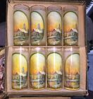 Vintage LITHO WARE DRINKING GLASSES Mid Century Set Of 8 Boxed Rockport,Ill Rare