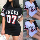 Women V-Neck Short Sleeve Queen Print T-shirt Stylish Party Holiday Mini Dr #na