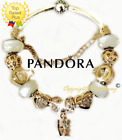 AUTHENTIC PANDORA Charm Bracelet Silver White Gold with European Charms Heart