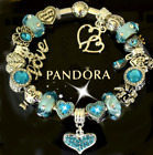 AUTHENTIC PANDORA Charm Bracelet Silver Blue Heart with European Charms Heart