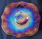 VINTAGE BIG LE SMITH RUBY RED GLASS TRAY BEAUTIFUL IRIDESCENT DESIGN NR