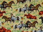 WILD HORSES FABRIC ROUND EM UP QUILTING TREASURE 100 COTTON HORSE BY THE YARD