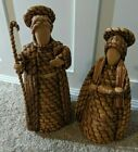 Large Hand Crafted Joseph Mary Baby Jesus Folk Nativity Set Straw Wood 19