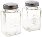 Vintage Style Clear Glass Embossed Salt  Pepper Shaker Set Large Stove Styl