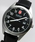 New Men Swiss Made Army Military Victorinox Black Dial Leather Strap 40mm Watch