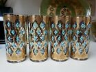 4 CULVER SEVILLE hiball glasses blue diamonds GOLD EXCELLENT vintage MCM