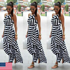 US Fashion Womens Slip Maxi Dress Sleeveless Evening Party Summer Beach Sundress
