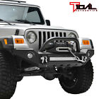 Tidal Front Bumper with LED Light W Light Surround Fit 87 06 Jeep Wrangler TJ YJ