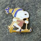 SNOOPY Smile Yellow & Blue Beanie Hat Resort Travel Ski Skiing Lapel Pin Peanuts